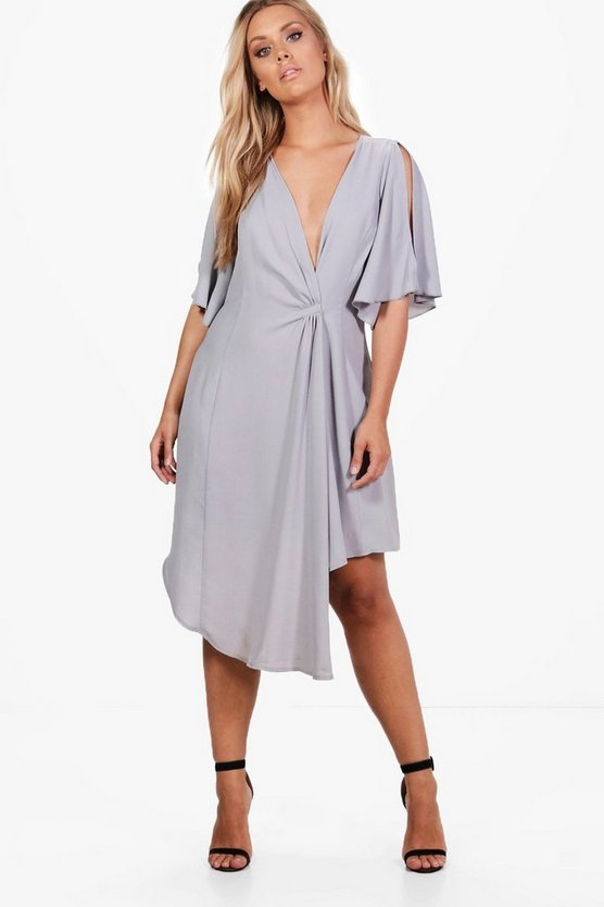 Plus Sarah Wrap Woven Occasion Dress