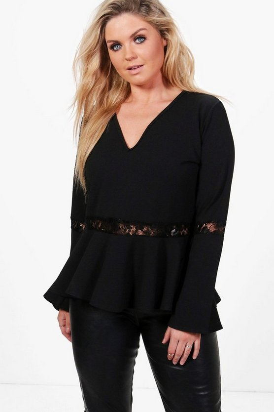 Plus Laura Lace Trim Peplum Flute Sleeve Top