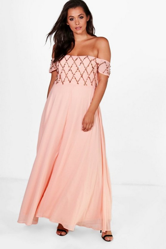 Plus Millie Embellished Cold Shoulder Maxi Dress