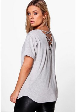 Plus Lisa Lace Up Back Tee