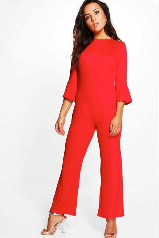 Petite Lucy Frill Cuff Wide Leg Crepe Jumpsuit