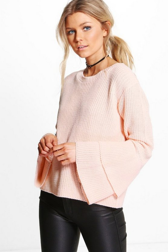Petite Lauren Ruffle Sleeve and Hem Jumper
