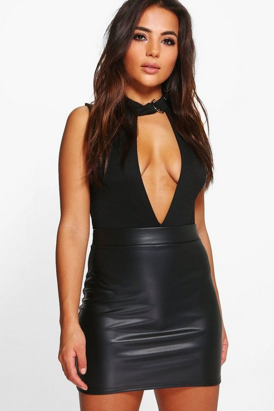 Petite Lauren Matte Leather Look Mini Skirt