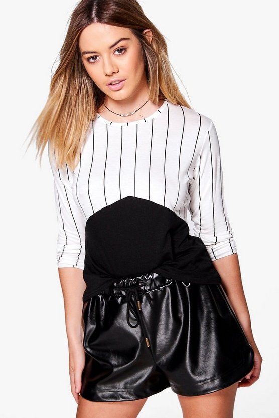 Petite Lola Stripe Contrast Colour Block Top