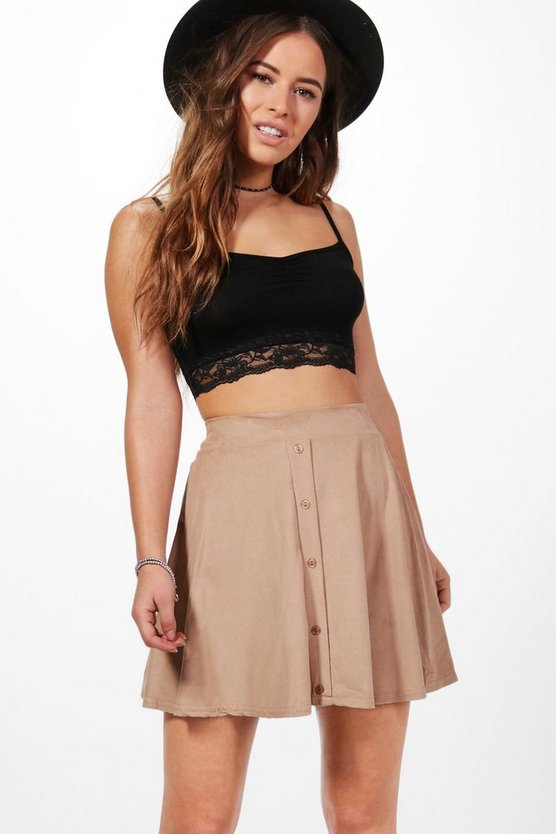 Petite Alice Button Front Skater Skirt