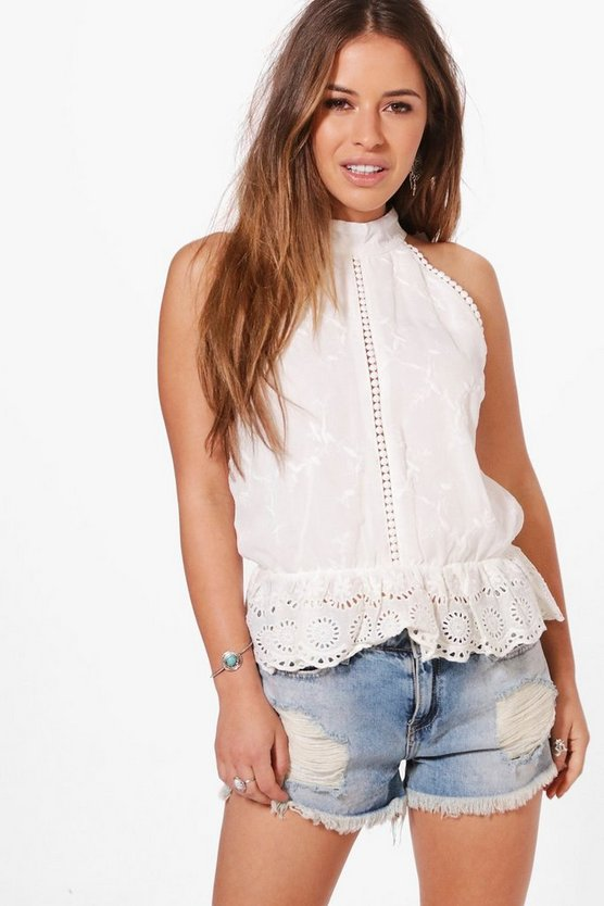 Petite Lucy Halterneck Broderie Anglaise Top