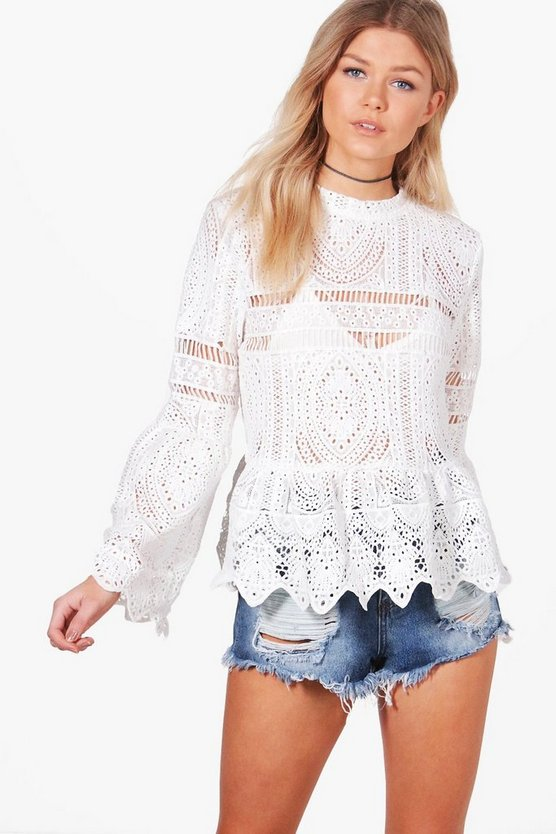 Petite Katy Crochet Lace Peplum Bell Sleeve Top