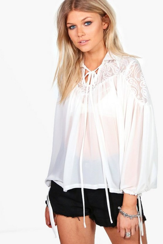 Petite Georgia Lace Panel Tie Neck Blouse