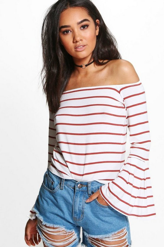 Petite Eva Off The Shoulder Stripe Bell Sleeve Top