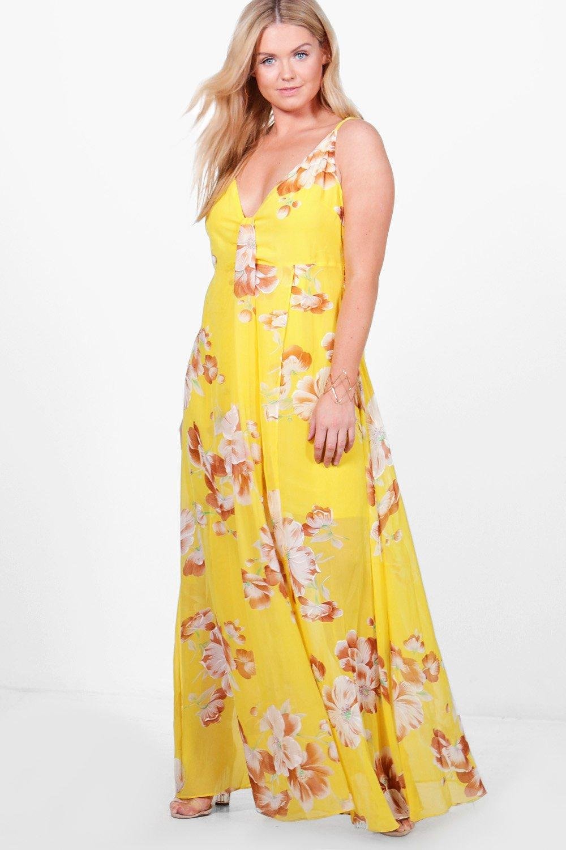 Plus Olivia Floral Printed V Neck Maxi Dress multi