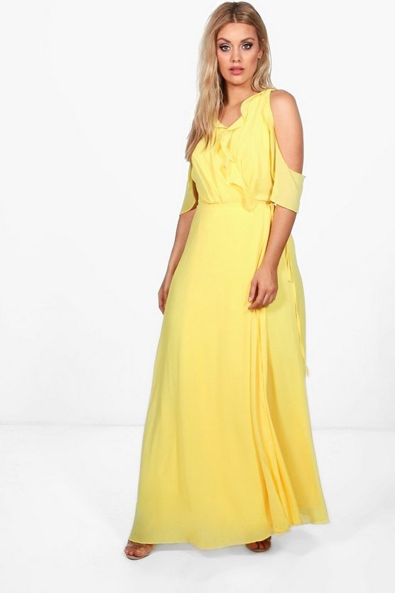 Plus Beth Ruffle Cold Shoulder Wrap Maxi Dress