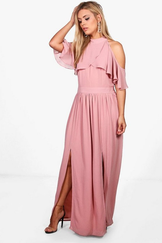 Plus Isla Chiffon Frill Open Shoulder Maxi Dress