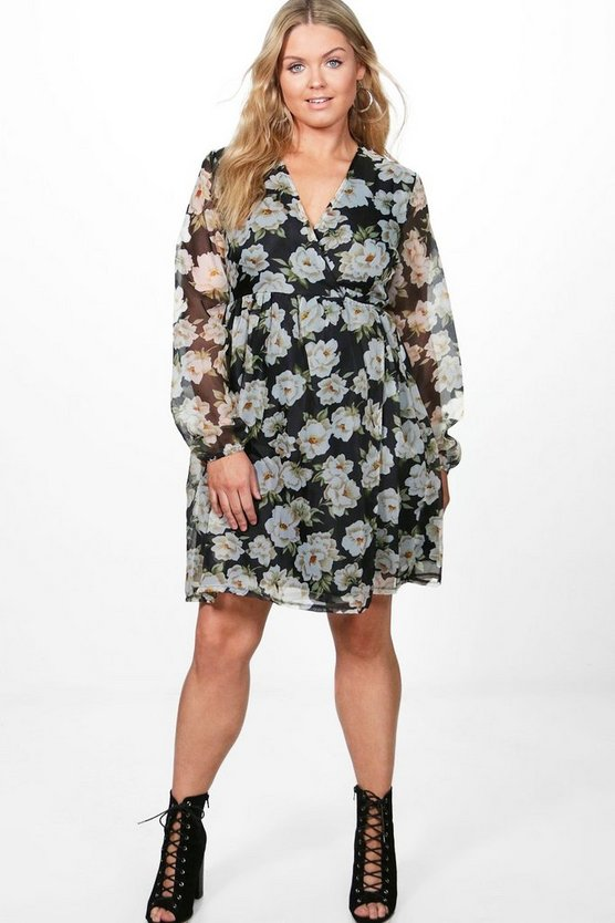 Plus Georgie Wrap Dress With V Neckline