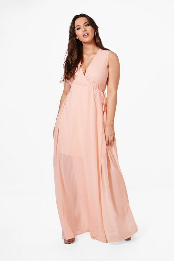 Plus Olivia Maxi Dress With Deep V Neckline