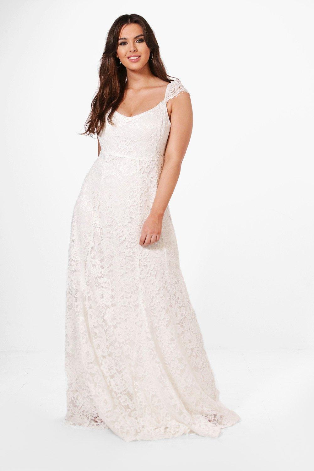 Plus Ella Lace Maxi Dress With Cap Sleeve ivory
