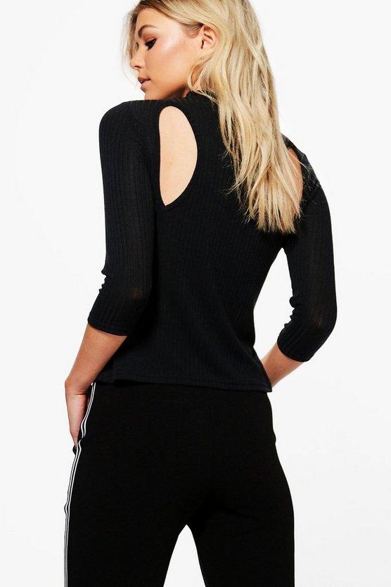 Petite Hannah Cut Out Back Rib Top