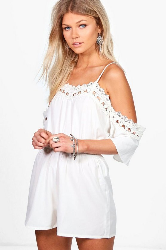 Petite Averie Crochet Detail Open Shoulder Playsuit