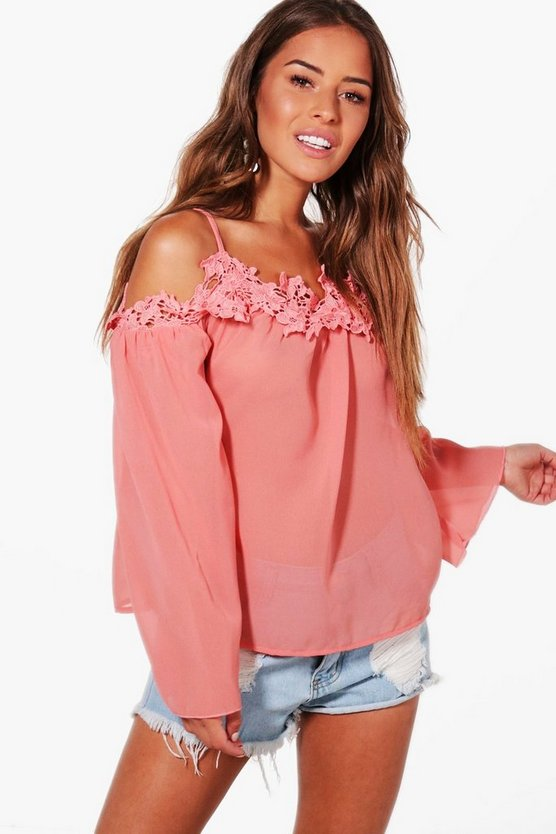 Petite Lace Detail Cold Shoulder Top