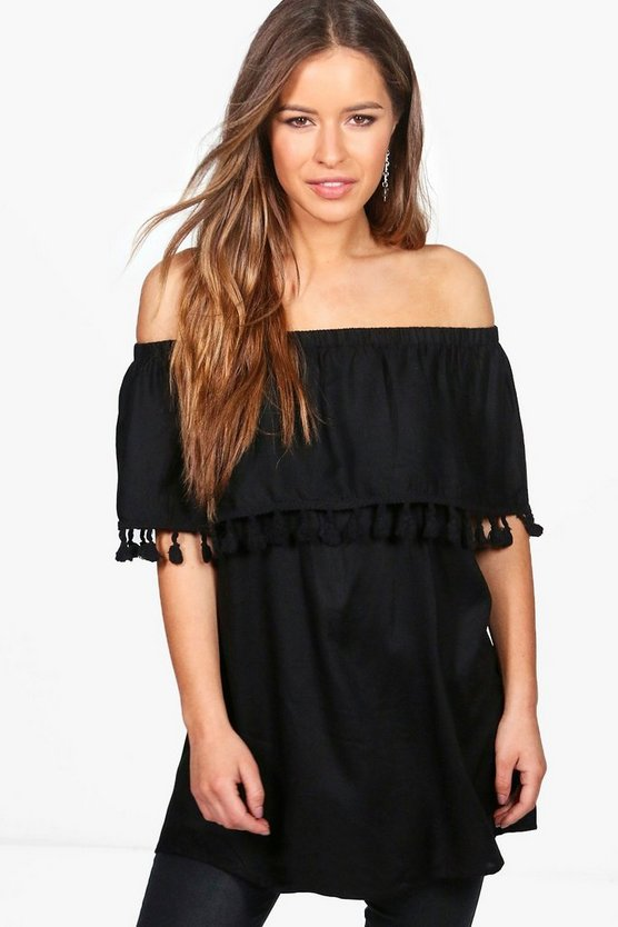 Petite Polly Tassel Hem Off The Shoulder Top
