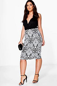Plus Claire Floral Jacquard Stretch Midi Skirt