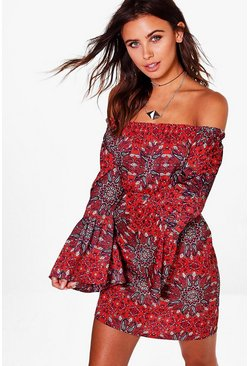 Petite Claire Woven Paisley Off The Shoulder Dress