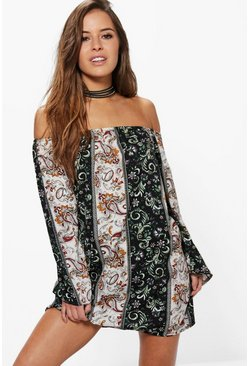 Petite Eva Off The Shoulder Flared Sleeve Shift Dress
