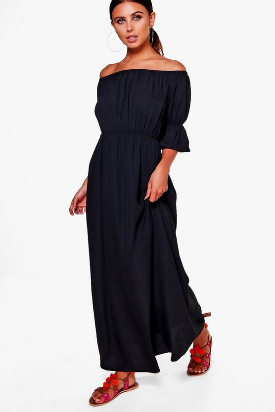 Petite Sara Off The Shoulder Woven Maxi Dress