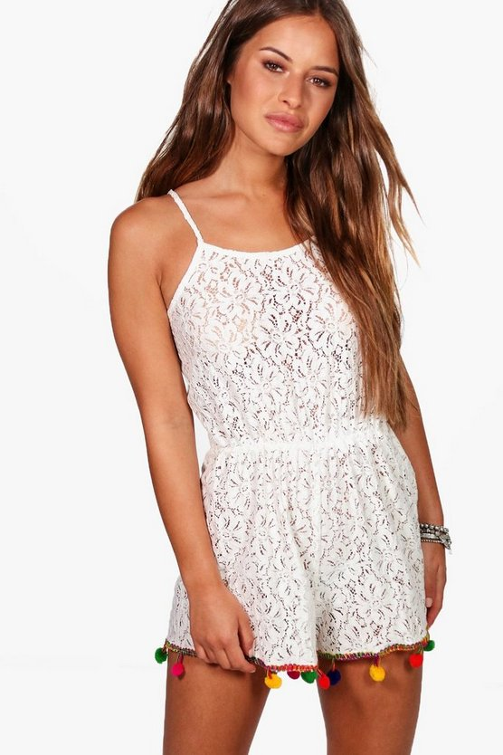 Petite Lace Pom Pom Detail Playsuit