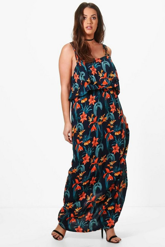 Plus Faye Tropical Double Layer Maxi Dress