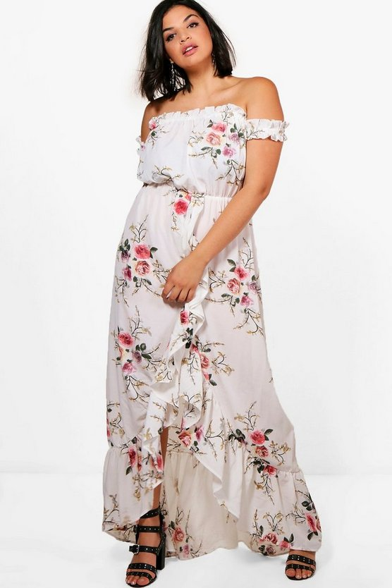 Plus Amelia Floral Off The Shoulder Ruffle Maxi Dress