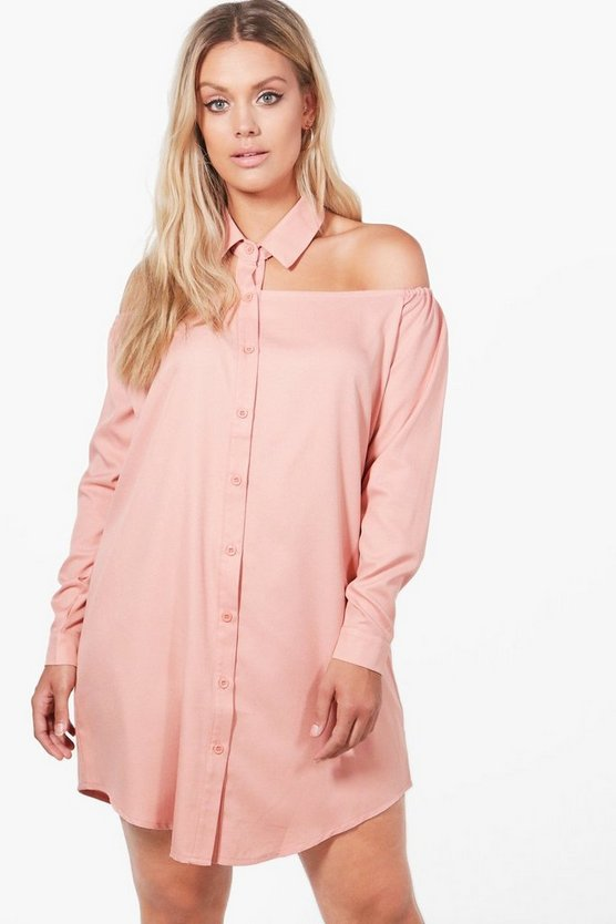 Plus Jessica Cut Out Collar Shirt Dress