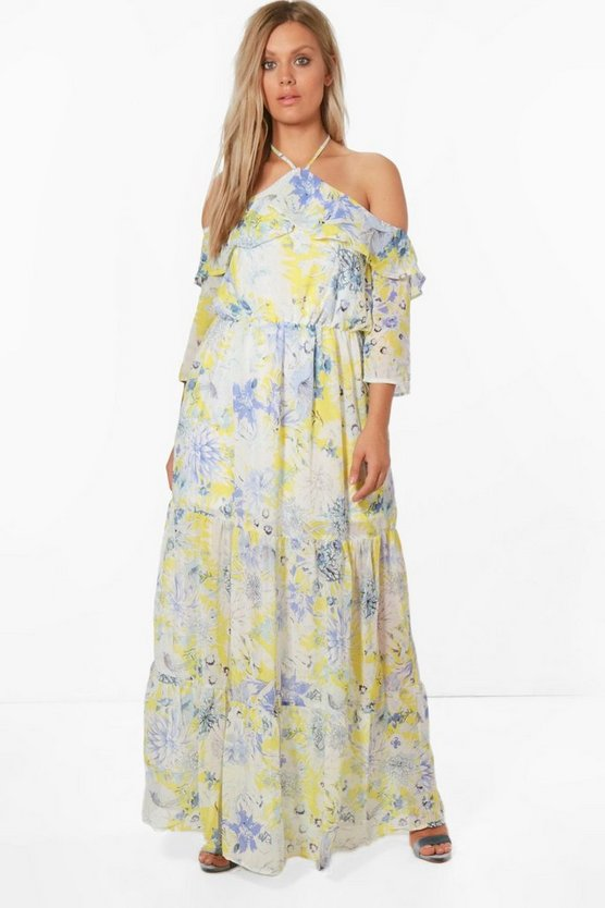 Plus Kesha Cold Shoulder Floral Maxi Dress