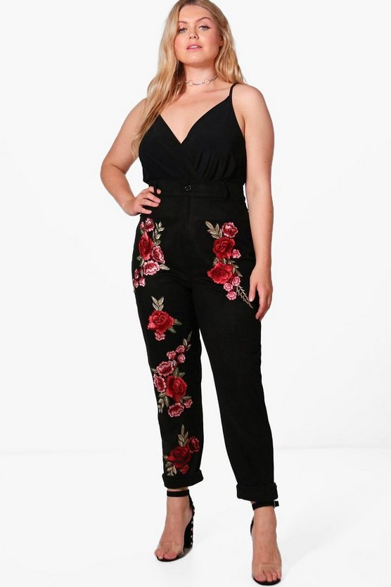 Plus Harriet Embroidered Suedette Stretch Trouser