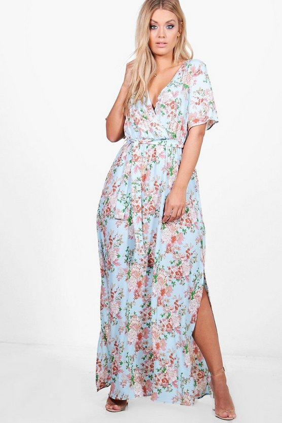 Plus Adele Floral Wrap Front Maxi Dress