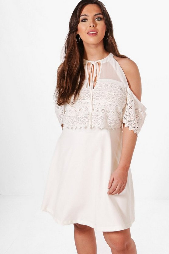 Plus Lisa Cold Shoulder Lace Skater Dress