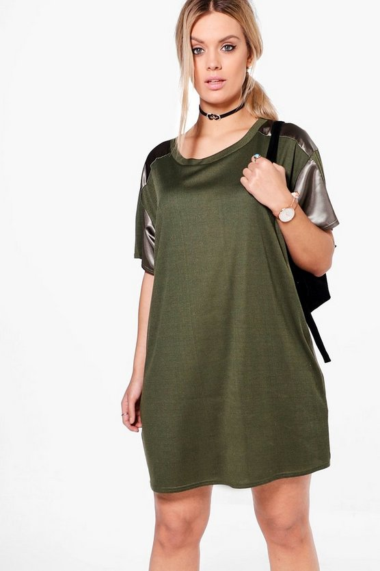 Plus Kelly Satin Trim Ribbed T-shirt Dress