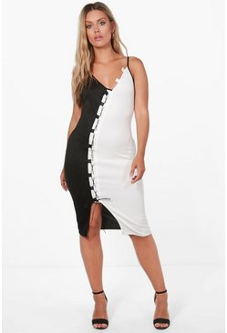 Plus Jessica Contrast Lace Up Midi Dress