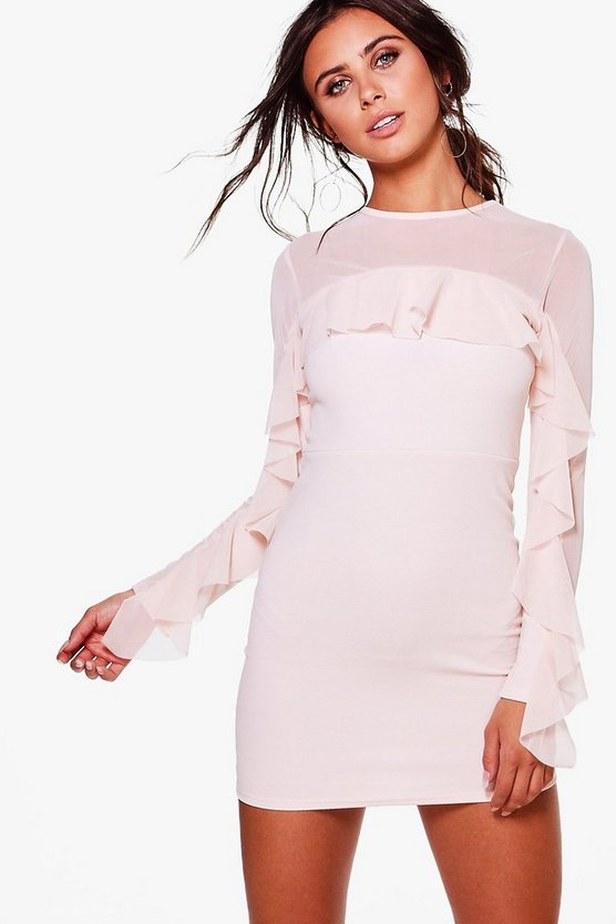Petite Jennifer Ruffle Mesh Long Sleeve Dress
