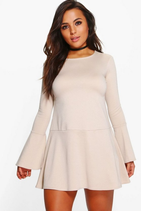 Petite Georgie Drop Hem Frill Sleeve Ponte Dress