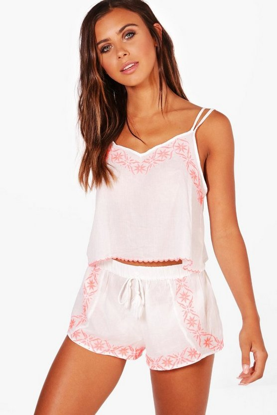 Petite Sofie Embroidered Neon Beach Co-ord Set