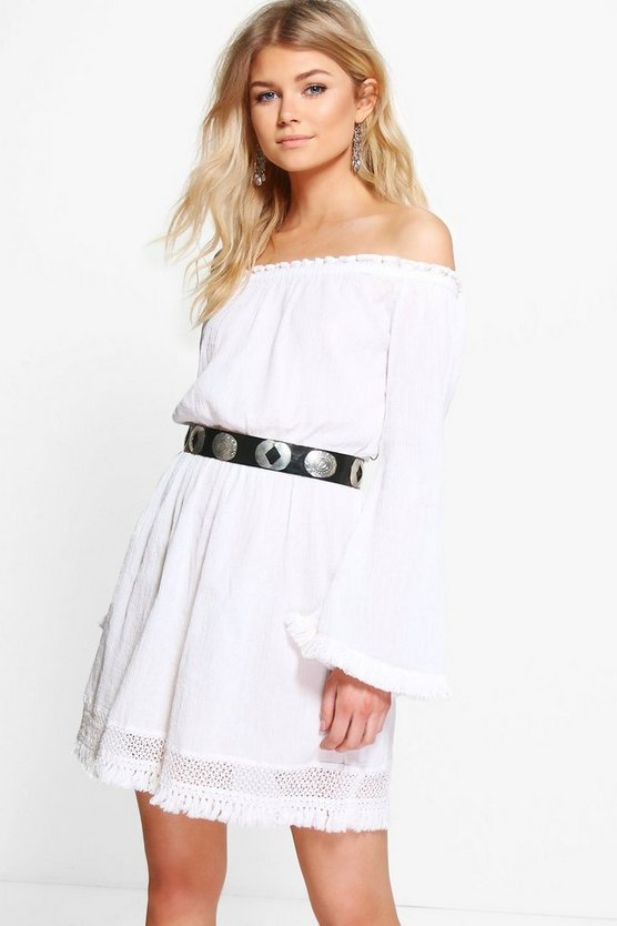 Petite Ella Crochet Lace Trim Skater Dress