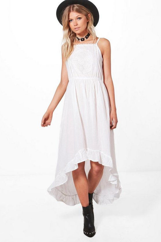 Petite Maisy Crochet Lace Boho Midi Dress