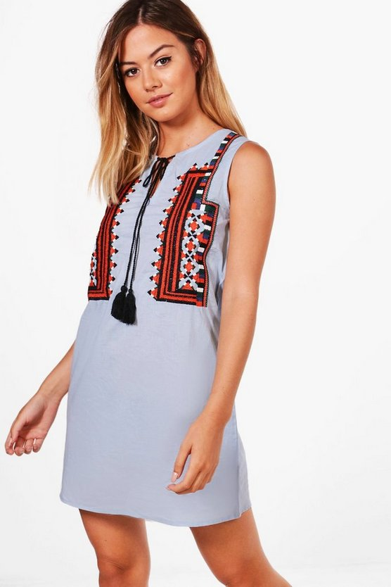 Petite Allie Sleeveless Embroidered Shift Dress