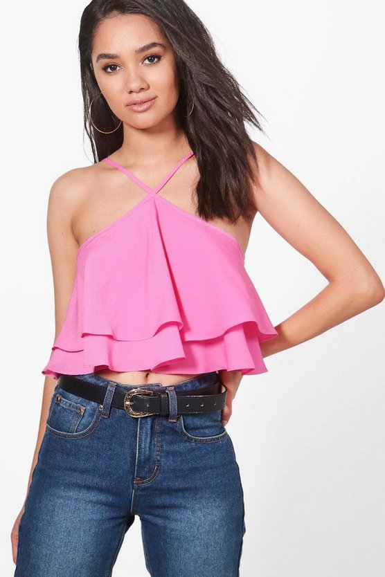 Petite Ray Halterneck Double Layer Woven Crop Top