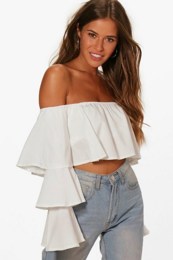 Petite Tilly Off The Shoulder Tiered Sleeve Crop Top