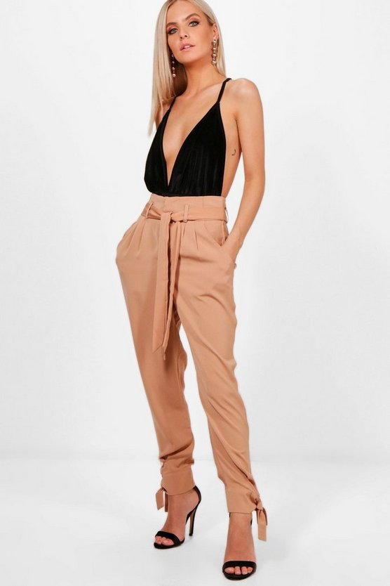 Petite Claire Tailored Ankle Tie Woven Trousers