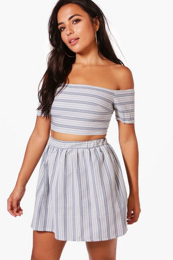 Petite Holly Stripe Bardot Crop + Skater Skirt Co-ord