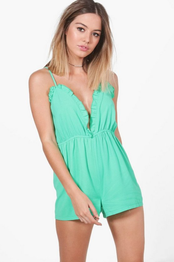 Petite Rosie Ruffle Plunge Front Playsuit