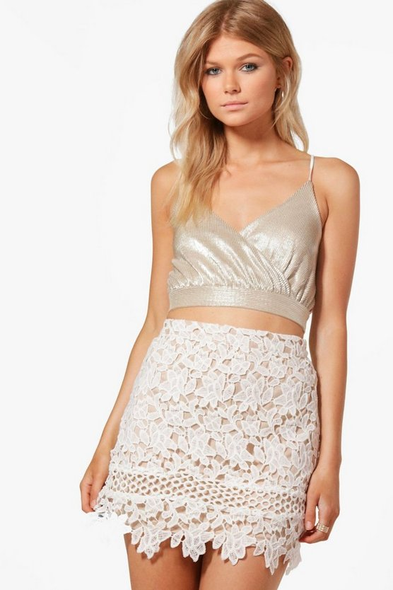 Petite Ellie Contrast Lining Crochet Lace Mini Skirt