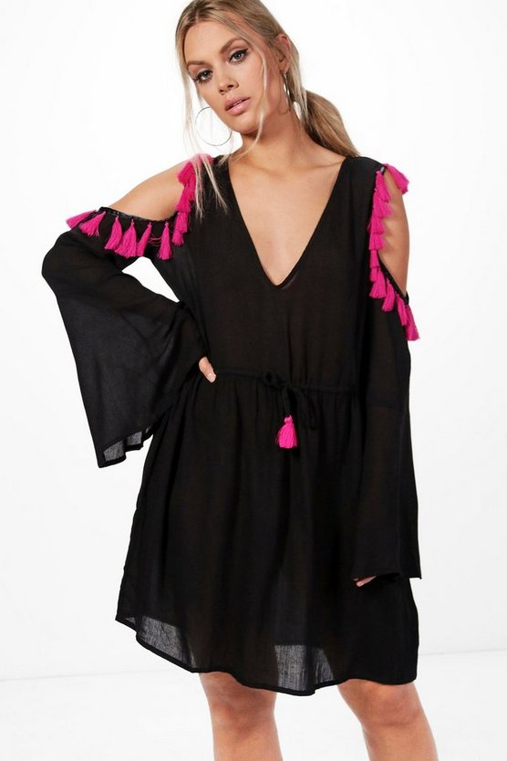 Plus Kayla Open Shoulder Tassel Skater Dress